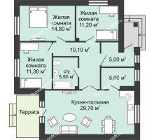 3 комнатная квартира 93 м² в КП Green Park (Грин Парк), дом коттедж 93.0 м² - планировка