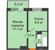 1 комнатная квартира 35,6 м², ЖД Подзолкова - планировка