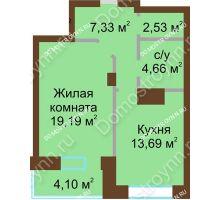 1 комнатная квартира 51,5 м² - ЖК Подкова Приокская
