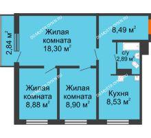 3 комнатная квартира 56,84 м² в ЖК Торпедо, дом № 19 - планировка