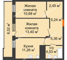 2 комнатная квартира 57,18 м² в ЖК Циолковский, дом № 3 - планировка