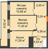 2 комнатная квартира 57,18 м² в ЖК Циолковский, дом № 6 - планировка