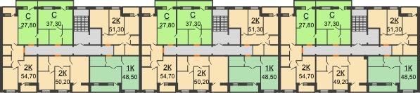 Планировка 6 этажа в доме № 15 в ЖК Куйбышев