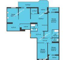 3 комнатная квартира 61,36 м² в ЖК Все свои, дом Литер 5 - планировка