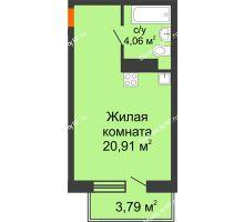 Студия 24,97 м² в ЖК Заречный, дом ГП-49 - планировка