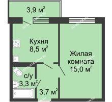 1 комнатная квартира 32,5 м² в ЖК Мега, дом № 5 - планировка