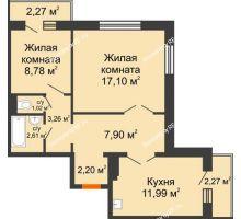 2 комнатная квартира 56,22 м² в ЖК Иннoкeнтьeвcкий, дом № 6