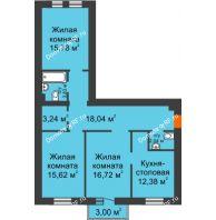 3 комнатная квартира 89,34 м² в ЖК Новоостровский, дом №1 корпус 1 - планировка