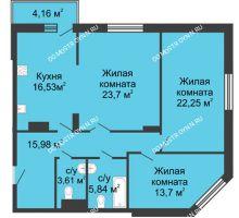 3 комнатная квартира 101,61 м² в ЖК Высоково, дом № 3 - планировка