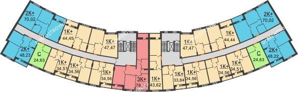 Планировка 2 этажа в доме № 3 в ЖК Ватсон