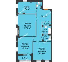 3 комнатная квартира 121,1 м² в ЖК Премиум, дом № 2 - планировка