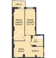 2 комнатная квартира 61,76 м² в ЖК Сердце Ростова 2, дом Литер 8 - планировка