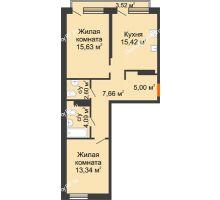 2 комнатная квартира 64,8 м² в Микрорайон Видный, дом ГП-20 - планировка