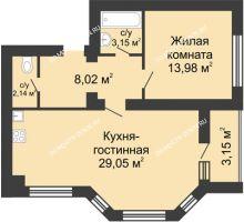 2 комнатная квартира 57,92 м² в ЖК Парк Горького, дом 62/2, №4