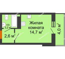 Студия 22,5 м² в ЖК Самолет 2, дом Литер 3 - планировка