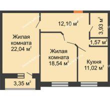 2 комнатная квартира 69,2 м², ЖК Парк Металлургов - планировка