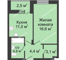 1 комнатная квартира 41,15 м² в ЖК Октава, дом №6