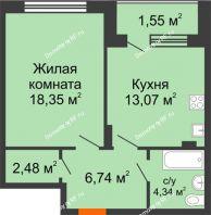1 комнатная квартира 46,53 м² в ЖК Суворов-Сити, дом 1 очередь секция 6-13 - планировка