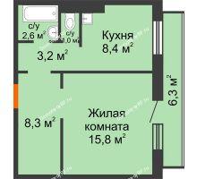 1 комнатная квартира 42,2 м² в ЖК на Калинина, дом № 2.1 - планировка