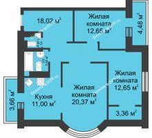 3 комнатная квартира 91,16 м², ЖК Петровская Крепость - планировка