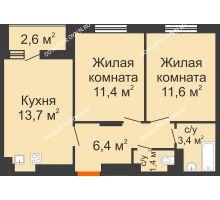 2 комнатная квартира 49,2 м² в ЖК Новая Кузнечиха, дом № 31 - планировка