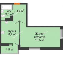 1 комнатная квартира 36,6 м², ЖК Акварели-3 - планировка