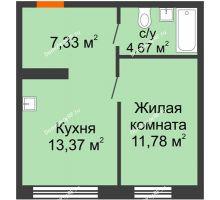 1 комнатная квартира 37,15 м² в ЖК Мозаика Парк, дом ГП-1 - планировка