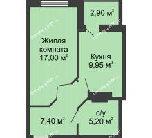 1 комнатная квартира 41 м² в ЖК Новый Город, дом № 3 - планировка