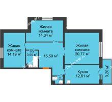 3 комнатная квартира 82,86 м² в ЖК Новый Академгородок, дом № 2 - планировка