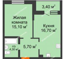 1 комнатная квартира 43,5 м² в ЖК Подкова на Цветочной, дом № 7 - планировка