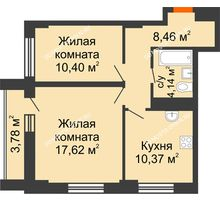 2 комнатная квартира 52,88 м² - ЖК Каскад на Сусловой