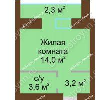 Студия 25,4 м² в ЖК Рубин, дом № 67 - планировка