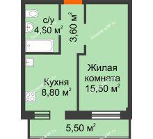 1 комнатная квартира 34,35 м² в Микрорайон Европейский, дом №9 блок-секции 1,2 - планировка
