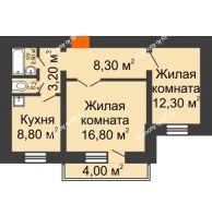 2 комнатная квартира 54,1 м², Жилой дом пр. Ленинградский, 26 г. Железногорск - планировка