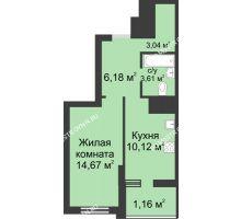 1 комнатная квартира 38,78 м² в ЖК Маленькая страна, дом № 3 - планировка