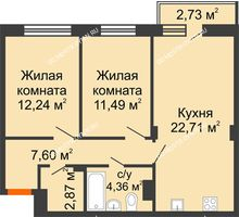 2 комнатная квартира 62,09 м² - ЖК Зеленый берег Life