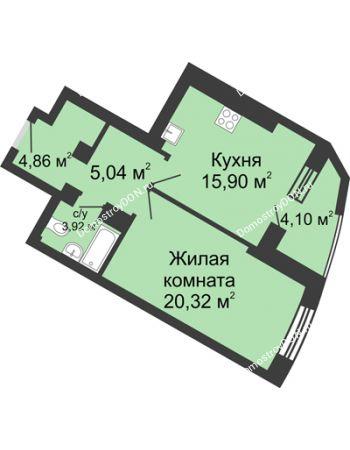 1 комнатная квартира 54,14 м² - ЖК Юбилейный