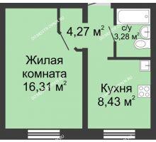1 комнатная квартира 32,29 м² в ЖК Бурнаковский, дом № 39