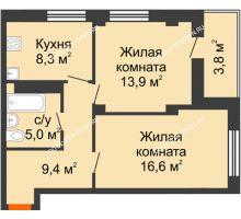 2 комнатная квартира 55,7 м² в ЖК Тихая Гавань на Якорной, дом № 1