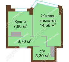 Студия 32,3 м², ЖК Северный Дворик - планировка