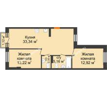 2 комнатная квартира 67,36 м², ЖК Шаляпин - планировка