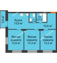 3 комнатная квартира 71,65 м² в ЖК Заречье, дом № 1 - планировка