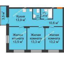 3 комнатная квартира 71,65 м² в ЖК Заречье, дом №1, секция 2 - планировка