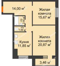 2 комнатная квартира 68,6 м² в ЖК Парк Горького, дом 62/18, № 6 - планировка