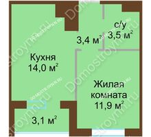 1 комнатная квартира 34,35 м² в ЖК НОВИНКИ Smart City, дом № 21 - планировка