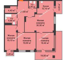 3 комнатная квартира 101,2 м² в ЖК Взлетная 7, дом 1-2 корпус - планировка