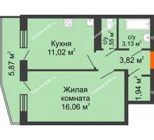 1 комнатная квартира 41,61 м², ЖК 9 Ярдов - планировка