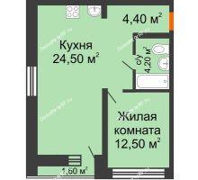 1 комнатная квартира 49,8 м² в ЖК Европейский квартал, дом ГП 3 - планировка