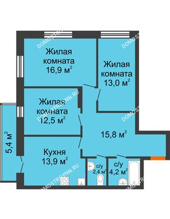 3 комнатная квартира 80,32 м² в ЖК Заречье, дом №1, секция 2