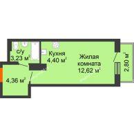Студия 27,41 м² в ЖК Рассвет, дом № 10 - планировка